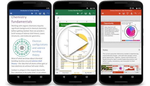 Las apps de Office -Word, Excel y PowerPoint-, ahora disponibles para Android