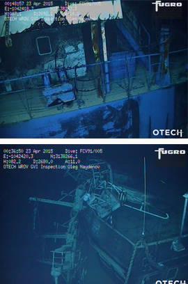 Aspecto del estado en el que se encuentra el barco ruso hundido en aguas canarias. Fotos: Salvamento Marítimo
