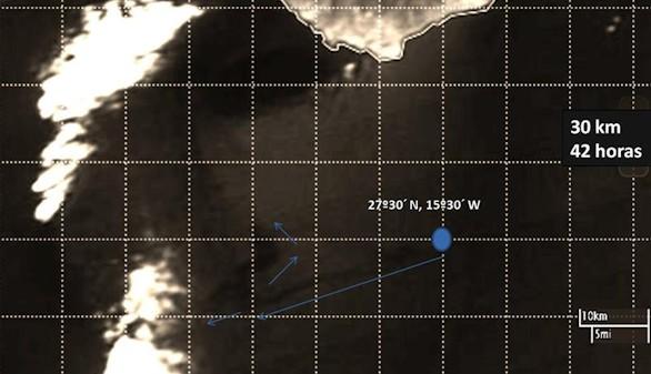 Gráfico facilitado por la Universidad de Las Palmas de Gran Canaria (ULGC) que muestra la trayectoria de la mancha de fuel provocada por el pesquero 'Oleg Naydenov' que ha recorrido 32 kilómetros en las últimas 40 horas, alejándose de Maspalomas en dirección suroeste, según estimaciones realizadas por la citada Universidad a partir imágenes tomadas por el satélite 'Aqua' de la NASA.