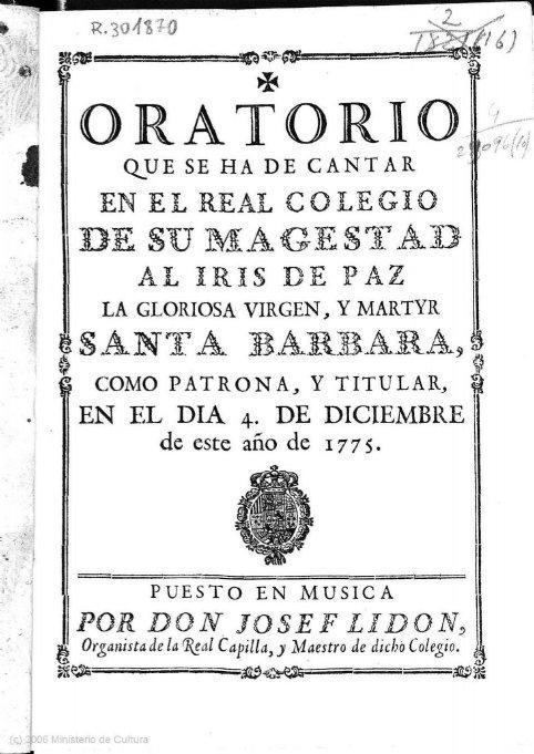 Estreno en tiempos modernos de un oratorio inédito de José Lidón