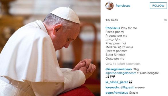 El papa Francisco se estrena también como instagramer