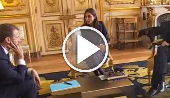 Vídeos virales. El perro de Macron orina en plena reunión oficial