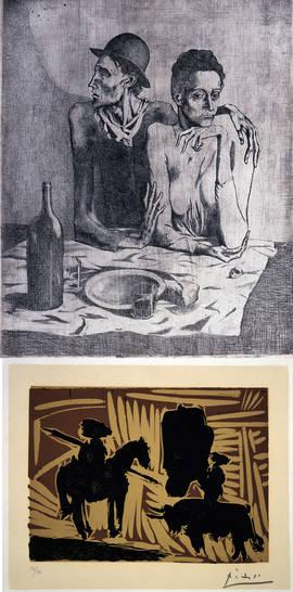 Dos de los grabados de Picasso reunidos en la exposición de Calcografía Nacional. Foto: Real Academia de Bellas Artes de San Fernando