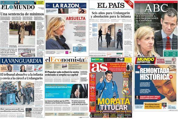 La sentencia de Nóos divide a los periódicos