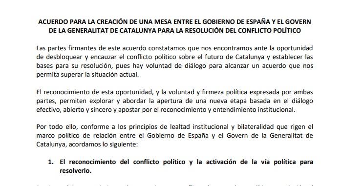 Texto íntegro del acuerdo de ERC y PSOE