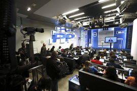 Sala de prensa de Génova durante la intervención de Mariano Rajoy. Efe