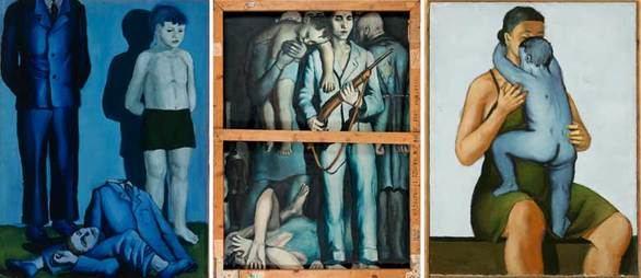 De izquierda a derecha: Ejecución con niño, La liquidación del gueto y Madre con hijo muerto.