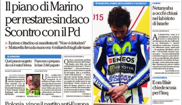 La prensa italiana también critica a Valentino Rossi por su patada