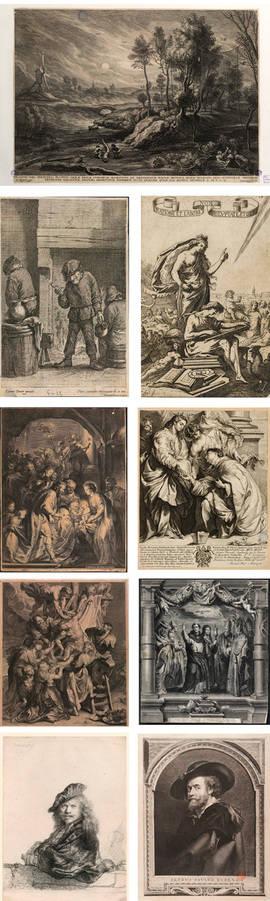 Algunos de los grabados expuestos en la Biblioteca Nacional hasta el 31 de enero.