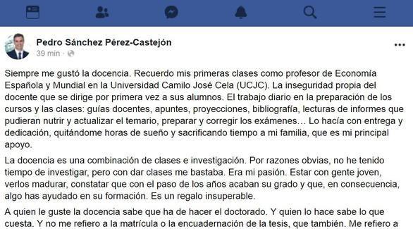 Sánchez utiliza Facebook para defender la autoría de su tesis