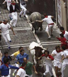 Los toros de José Escolar han dado juego en el encierro. Efe