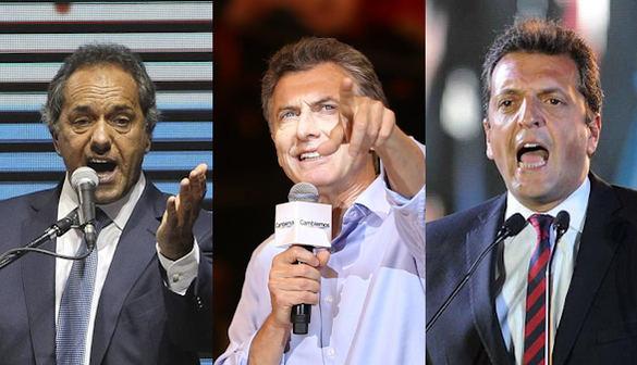 De izquierda a derecha, Daniel Scioli, Mauricio Macri y Sergio Massa. Fotos: EFE Imágenes