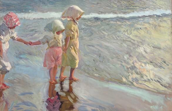 'Las tres hermanas en la playa', un Sorolla que aspira a un nuevo récord