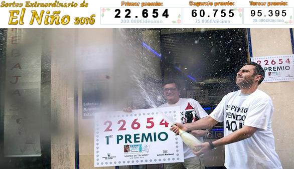 El número 22.654, primer premio en el sorteo de El Niño
