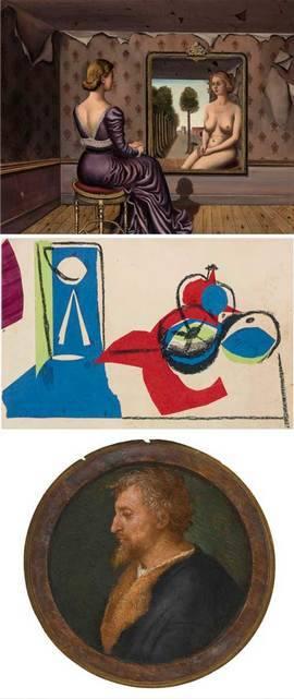 De arriba a abajo: obras de Delvaux, Picasso y Rafael. Sotheby's