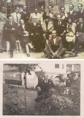 Arriba, Vicente Aleixandre y Miguel Hernández en una foto de grupo; abajo, el Nobel le dedica una foto al poeta alicantino. Foto: AAVA
