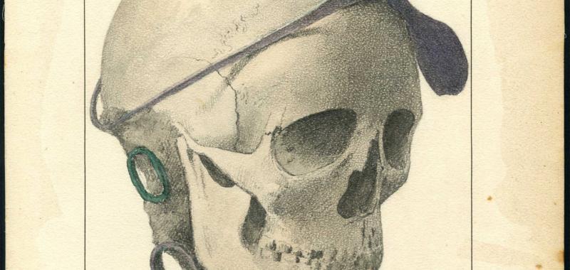 Cráneo con diadema y pendiente
