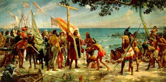 Primer homenaje a Colón (12 de octubre de 1492) Foto: Museo Naval