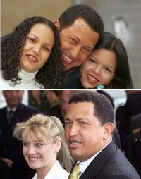 Arriba, Chávez con Nancy Colmenares, abajo, con Marisabel Rodríguez.