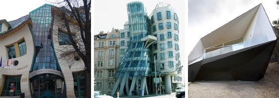 Crooked house, Dancing house y Klein Bottle house